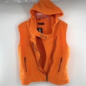 NEW Doublju Hooded Vest Orange Front Zip Snap Sz1X